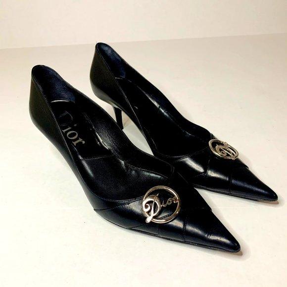 Vintage Dior Black Leather Heel w/ Silver Charm